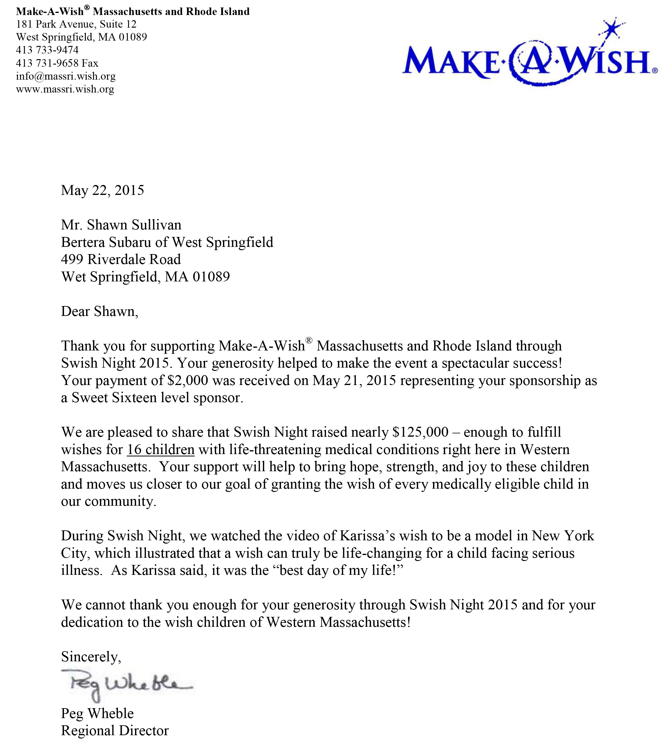 A Big Thanks From Make-A-Wish Massachusetts And Rhode